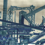 bleu 2 - pantone markers e china su carta - cm 14x22 - anno 2014